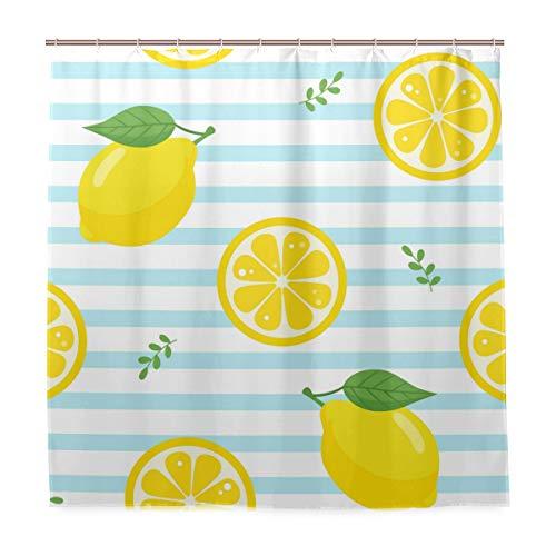 XiangHeFu mit Haken Duschvorhang Zitrone Obst Streifen 72 (W) x 72 (L) Zoll Dekor Hause wasserdicht 100prozent Gelb