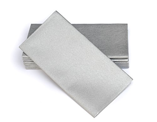Simulinen Colored Disposable Dinner Napkins – Decorative, Linen-Feel, Elegant & Cloth-Like – Silver - Absorbent & Durable - Weddings, Parties and Holidays! – Perfect Size: 16'x16' Box of 50
