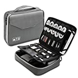 Electronics Organizer, Vivefox Double Layer Travel Bag Accessories Cable Organizer for Cords, USB Cable, SD Cards, Hard Drive, Power Bank, E-Book Kindle, iPad and More (Large, Black)