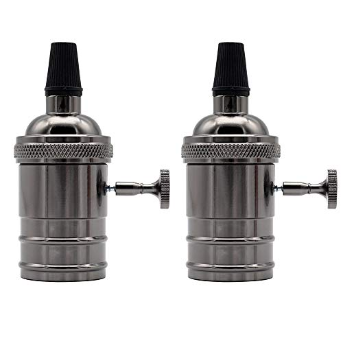 TIANFAN 2 Stück / Pack Antik Retro Vintage Messing Edison E27 Glühbirne Aluminium Sockel Lampe Lampenhalter Pendelbeleuchtung Sockel Deckenlampe Adapter Antik gun metal