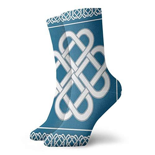 Irish Funky Colorful Cushion Sport Socks,Celtic Love Knot Good Fortune Symbol,Athletic Cushioned Running Performance Crew Socks For Men/Women,Dark Aqua White -12 inch
