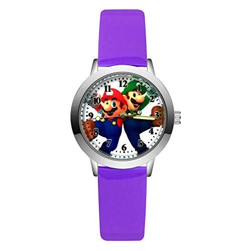 Mario Figure Horologe Fashion Cute Pretty Mario Style Relojes de los niños niños estudiantes niñas niños cuarzo cuero reloj reloj de pulsera