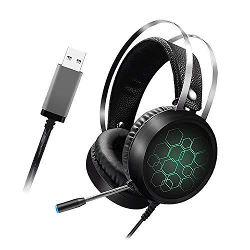 Sebasty Auriculares La Luz LED Gaming Headset con Micrófono con El Auricular con Micrófono Almohadillas De Espuma De Memoria For Juegos De PC Portátil (Color : One Size, Size : Green)