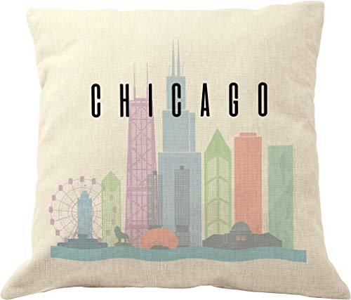 DrupsCo Chicago Throw Pillow Case - Chicago Pillow Cover 18x18, Decorative Chicago Pillows