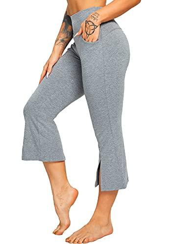 FITTOO Pantalones largos de bateo para mujer 3/4 con bolsillos - Gris L