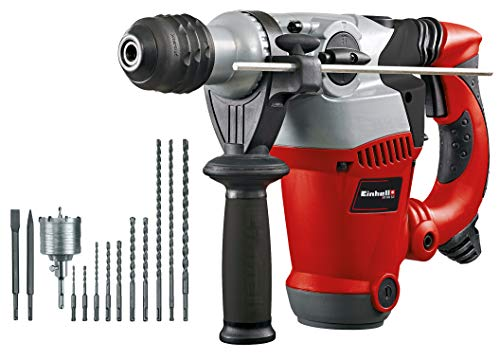 Einhell Pack con martillo perforador eléctrico, 12 acccesorios y malletín (RT-RH 32 Kit) anti vibración, cabezal SDS-plus, 3.5 J, 1250 W, 230 V (ref. 4258485)