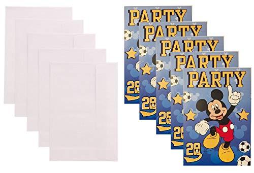 Disney Mickey Mouse 10-teiliges Einladungskarten Set Fußball, 5 Karten und 5 Umschläge - passend für Party, Kindergeburtstag,..Set 1