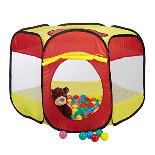 Relaxdays Bällebad mit 100 Bällen für Kinder, Popup Spielzelt als Ballpool ab 3, HBT: 70x85x100 cm, sechseckig rot-gelb