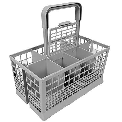Cesta de cubiertos para lavavajillas (24 x 13,5 x 12 cm), cesta universal con asa para utensilios compatible con la mayoría de marcas