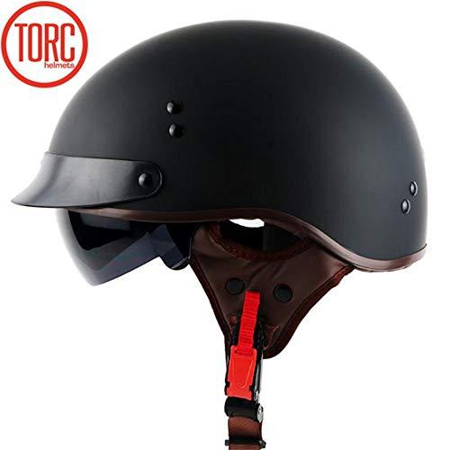 TORC Motorrad Open-Face Halbhelm Mit UV-Schutzbrille Vintage Jet Heavy Cruiser Motorrad-Helm DOT Zertifikat Vier Jahreszeiten Unisex Matte schwarz,M57~58CM