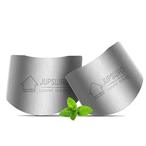 Jupswan Stainless Steel Finger Guards for Cutting Knife Cutting Protector Kitchen Tool Guard Finger Protector Avoid Hurting When Slicing and Chopping 2 Pack