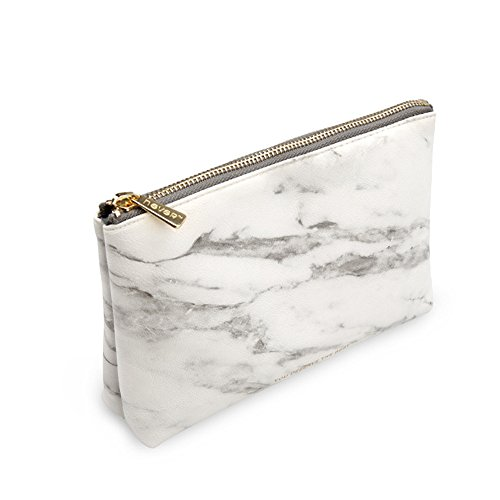 """Marble Cosmetic Bag with Gold Zipper Fashion Makeup Toiletry Pouch Organizer Travel Case Makeup Brushes Bag Pencil Pen Holder for Women Ladies Handbag(8.36"""" x 2.38"""" x 5.3"""")"""