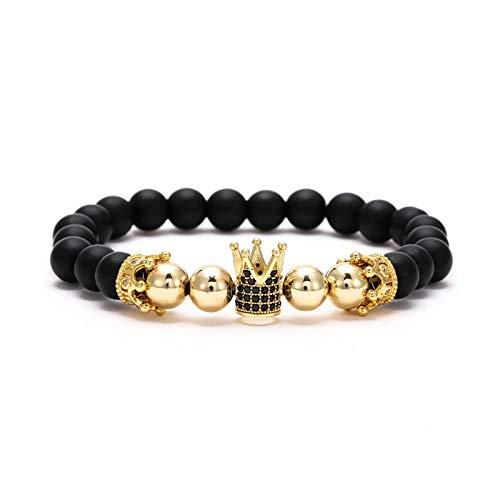 1 unid hombre pulseras budistas cuentas pulseras corona incrustada circón pulsera esmerilado perlas de oro