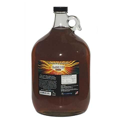 MediSILVER Amber Traditional colloidal Silver - 1 U.S. Gallon in Glass jug