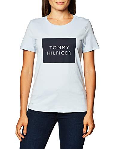 Tommy Hilfiger Regular Tommy Box C-NK tee SS Camiseta sin Mangas para bebés y niños pequeños, Azul, M para Mujer