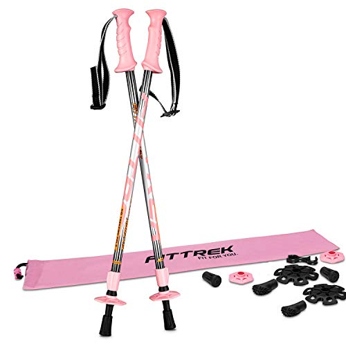 FitTrek Bastoncini Trekking Bambino - Bastoni Trekking - Racchette Trekking -Bastoncini Nordic Walking Telescopici Ultra Leggero con Trekking Accessori e Borsa