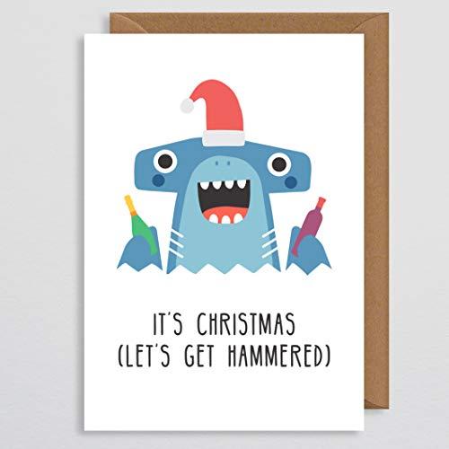 Kerstkaart Grappig - Het is Kerstmis Let's Get Hammered - Drinkkaart - Wijngeschenk - Drank - Haai - voor vriend - Pun Card - voor hem - voor haar - Vriendin - Vriendin - Echtgenoot - Vrouw - Kerstkaarten