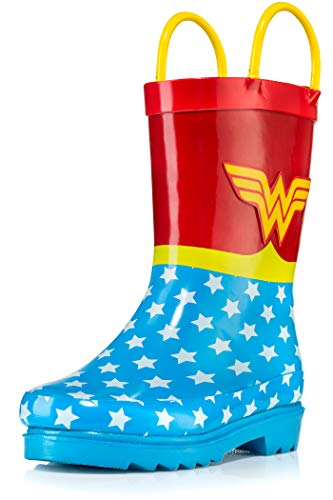 DC Comics Girls' Wonder Woman Printed Waterproof Easy-On Rubber Rain Boots - Size 8 Toddler
