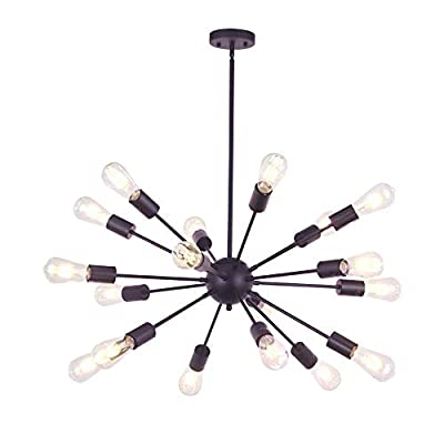 VINLUZ Sputnik Chandelier 18 Lights Mid Century Modern Pendant Lighting Brushed Nickel Industrial Vintage Ceiling Light UL Listed