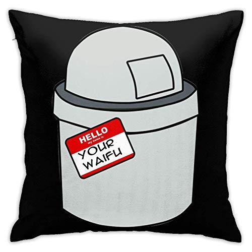 baoan Your Waifu is Trash Square Pilloase Throw Funda de almohada suave para decoración del hogar para sala de estar, sofá, coche, funda de cojín de 45,7 x 18 cm