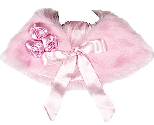 robes de mariage duveteux Châle avec rose satiné Fille Vêtements accessoire de costume 3–7Y - Rose - Taille Unique
