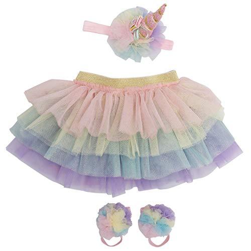 Unicorn Newborn Baby Girl Outfit Tutu Set Skirt Headband Photography Prop for Babies Size: 0-9 Months