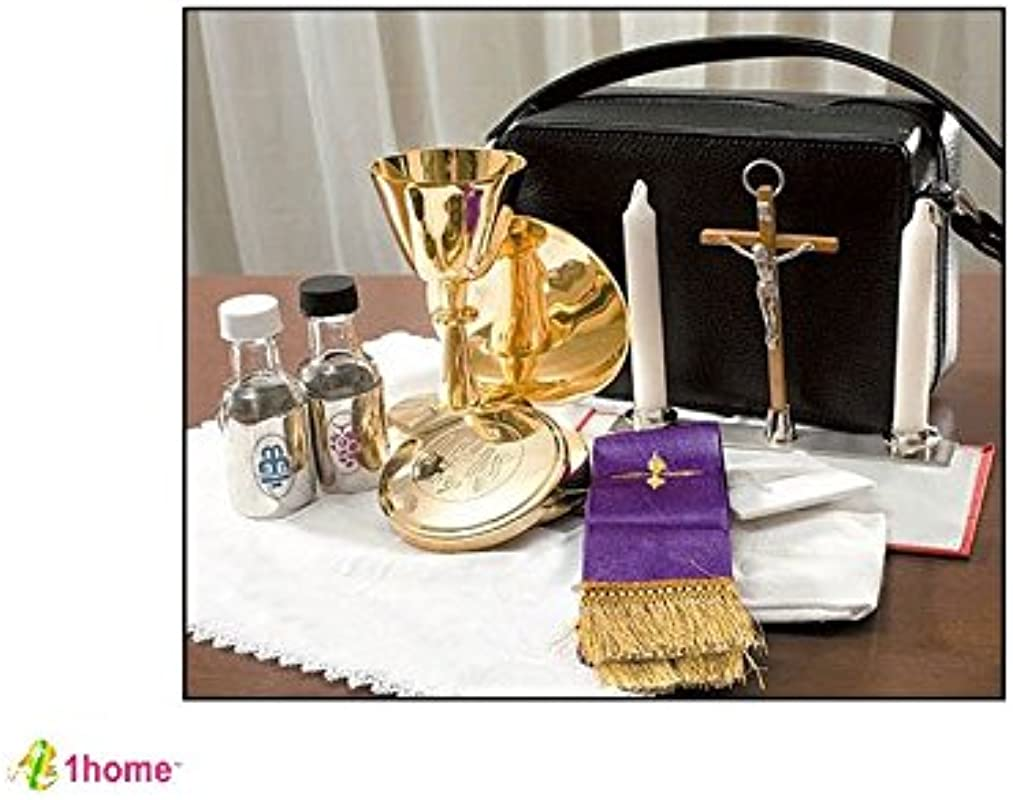 Mass Kit Includes Chalice Paten Pyx Crucifix 2 Glass Bottles 2 Candles Stole Linens Zippered Carrying Case By 1home