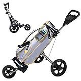 Golf Pull Push Cart, 360° Swivel Cup Holder Trolley | 3 Wheel Folding Golf Trolley | Folding Golf Pull Cart for Golf Bag, Foldable Lightweight Golf Cart for Men Women Kids Practice - US Spot (Silver)