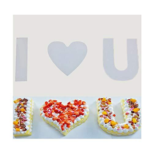 Gör-det-själv kaka bakning formar set fondant bokstäver kakmått stor kakform kaka nummerform, lätt hygienisk, personlig brev, lämplig för födelsedagar, bröllop, gåvor (kärleksstil)