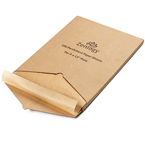 Zenlogy 9x13 (100 Sheets) Unbleached Parchment Paper Liners for High Heat Baking - Exact Fit for 9x13 Quarter Sheet Pans