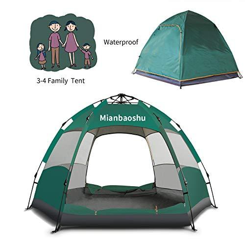 Campingtens Automatisches wasserdichtes Campingzelt für 3–4 Personen, großes Oxford-Gewebe, Doppelschicht, Familienzelt mit sofortiger Aufstellung.