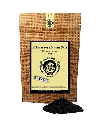 Uncle Spice Hawaii Salz schwarz - 170g schwarzes Hawaiisalz - Premiumqualität - schwarzes Meersalz aus Hawaii - Gourmetsalz - Black Lava Salt - Perfekt zum BBQ und zur Dekoration