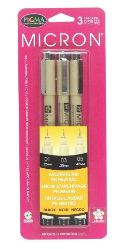 Sakura Pigma 30061 Micron Blister Card Ink Pen Set, Black, Ass't Point Size 3CT Set