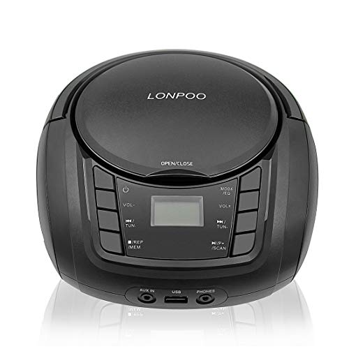 LONPOO Portable Top-Loading CD Boombox Bluetooth Stereo FM Radio with Aux Line in, Headphone Jack and USB Port, Foldable Carrying Handle