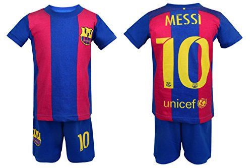 Soccer PJs Messi Pajama Barca 10 Soccer t-Shirt & Shorts Kids Set Cotton Sport Sleepwear Jammies (Multi, 4T)