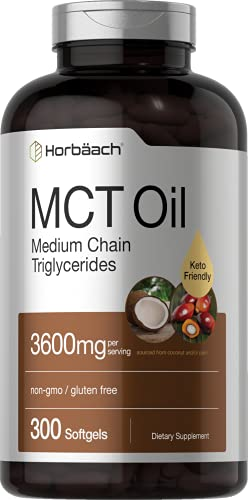 Keto MCT Oil Capsules | 3600 mg | 300 Softgels | Coconut Oil Pills | Non-GMO and Gluten Free Formula | High Potency and Value Size Supplement | by Horbaach