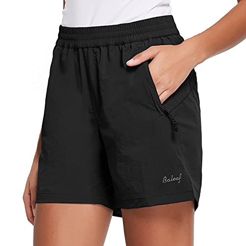BALEAF Women's 5' Athletic Shorts Quick Dry Lightweight for Hiking, Workout, Running with Zipper Pocket UPF 50+ Black Size M