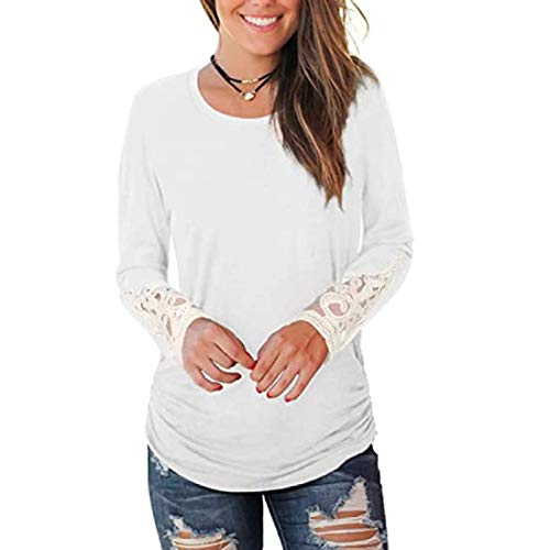 H&E Women's Lace Patchwork Fashion O Neck Long Sleeve Tops Blouse T Shirts White US L