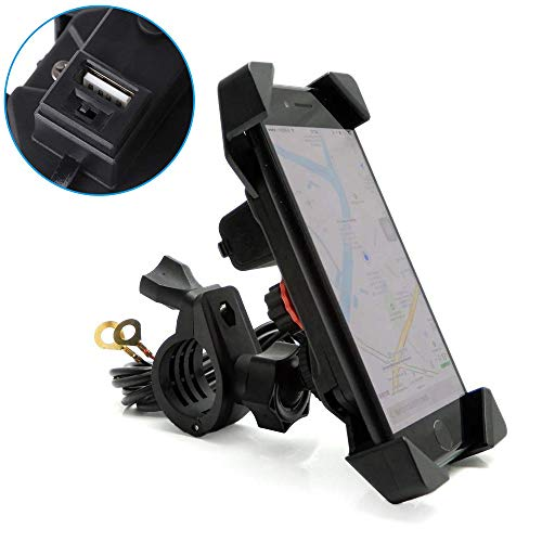"Motorcycle Phone Mount Holder with USB Charger Port Universal for 7/8"" Handlebar Cradle Holder for ATV Smartphone GPS, iPhone/Plus-Motorcycle Yamaha FZ07 Vstar 650 Ducati KTM KLR650 R1200GS"
