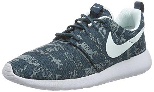 Nike Damen Roshe One Print Laufschuhe, Blau (Midnight Teal/Fbrglss-Premium Platinum), 38 EU