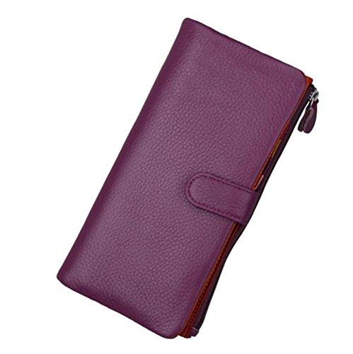 AprinCtempsD Cartera Piel Genuino Tarjetero de Crédito Elegante Monedero Grande Carteras de Mano Cremallera para Mujer (Púrpura)