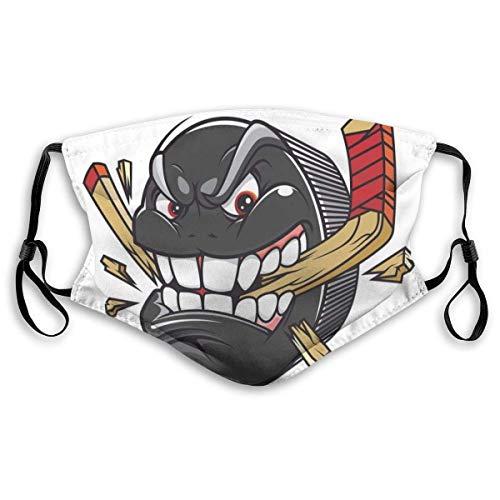 Cartoon Hockey Puck beißt und bricht Hockeyschläger Meisterschaftsspiel Maskottchen Charakter, Gedruckte Gesichtsdekorationen für Adult Kid, S.