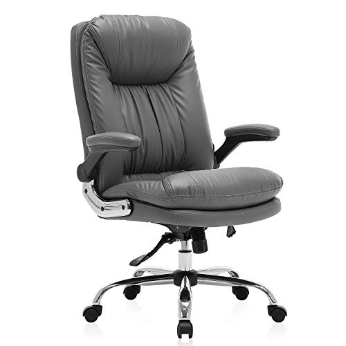 KERMS High Back Executive Home Office Desk Chair, Big and Tall Ergonomic Leather Adjustable Computer Chair with Flip up Arms and Lumbar Support (Gray)