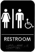 Alpine Industries Unisex Handicap Braille Restroom Sign - ADA Approved Self Adhesive Black & White Gender Neutral Toilet Door Plate for Office Restaurant & Business