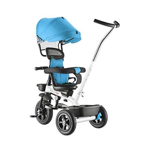 WENJIE Triciclo Cochecito De Bebé 1-3-6 Años 4 En 1 Bicicleta for Niños Cochecito De Niño Dispositivo De Valla De Seguridad Regalo De Cumpleaños De Niño Y Niña (Color : Blue)