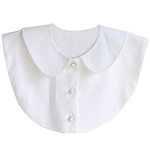 Aitos Fashion Doll Kragen Vintage Elegante Damenhalb Fake Hemd Bluse Weiß Abnehmbare (Weiß)