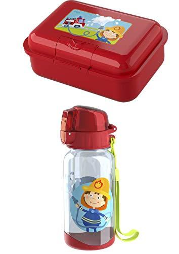 Haba Trinkflasche 303695 und Brotdose 303696 im Set - Motiv Feuerwehr