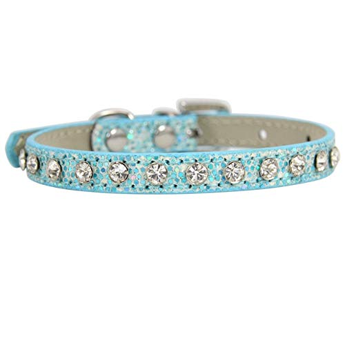 Collar de gato brillante con diamantes de imitación de diamantes de imitación para cachorro, perro y gato, collar de piel con correa de gatito