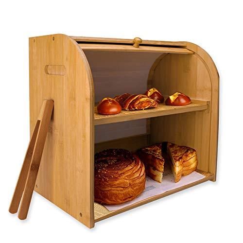 Bamboo bread boxUbisin 2 Layer large bread box for Kitchen countertopbread binfarmhouse bread boxextra large bread box bread keeper with bread clip(Self-assembly)