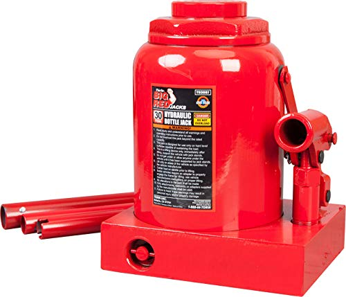 BIG RED TAM93007 Torin Hydraulic Stubby Low Profile Welded Bottle Jack, 30 Ton (60,000 lb) Capacity, Red